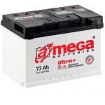 Аккумулятор A-mega Ultra Plus с обратной полярностью 6СТ-77R+