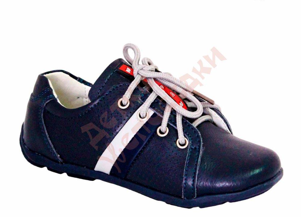Купить Туфли для мальчика на шнурках 2 полоски Шалунишка, синий, 29, 26-31, 29