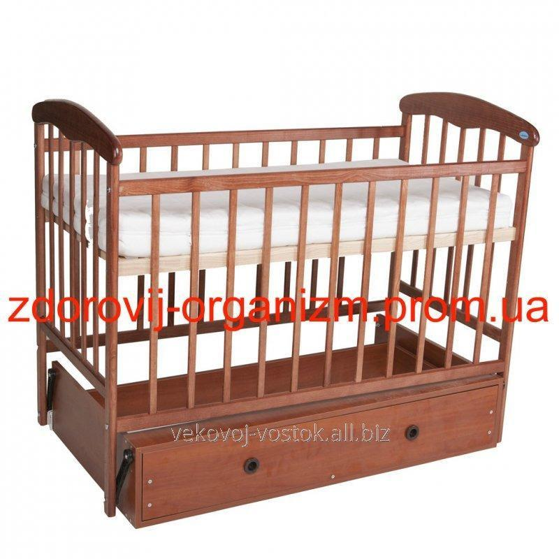 """Детская кроватка """"Наталка"""" Тёмная (с маятником и ящиком)"""
