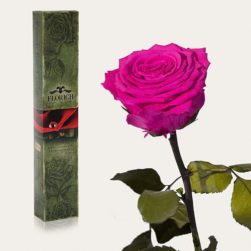 Одна долгосвежая роза Florich в подарочной упаковке. Малиновый родолит 7 карат, средний стебель