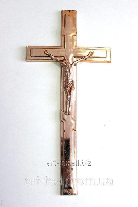 Крест католический с распятием металлизированный