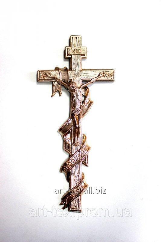 Крест православный с распятием, с лентой - металлизированный