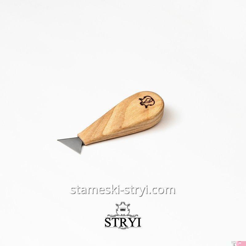 Нож стамеска для геометрической резьбы по дереву АЮ, нарезной нож 30 мм, арт.90030