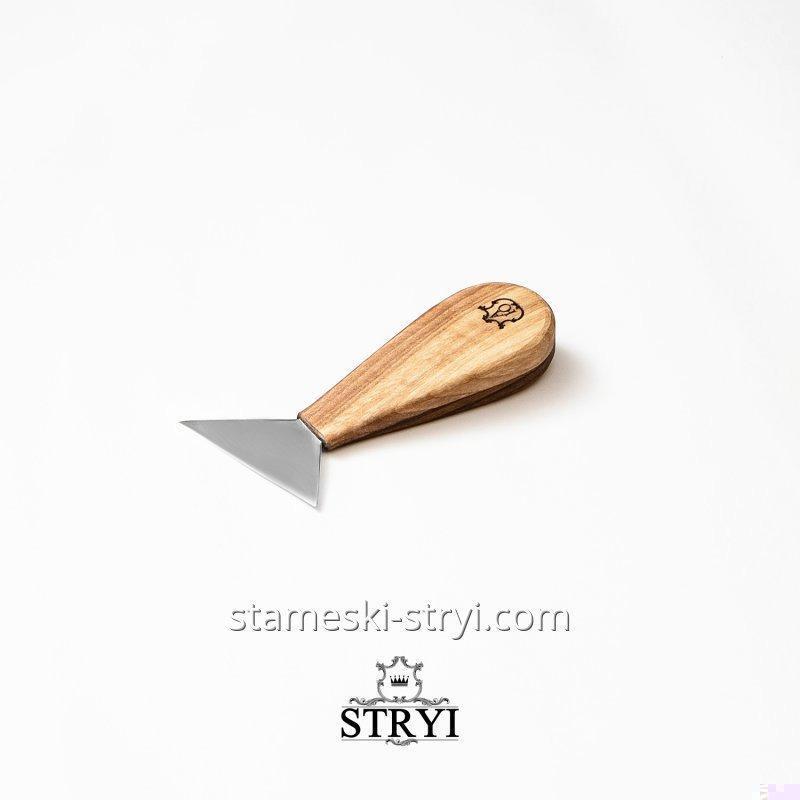 Нож флажок для геометрической резьбы по дереву АЮ, нарезной нож 67 - 70 мм, арт.390070
