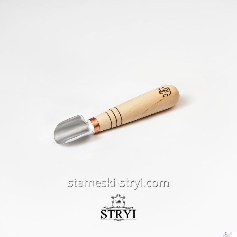 Стамеска для геометрической резьбы по дереву от STRYI, полукруглый коротыш, скошеная кромка 25мм, арт.391925