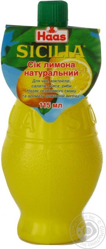 Сік лимона Хаас Сицилія натуральний 115мл