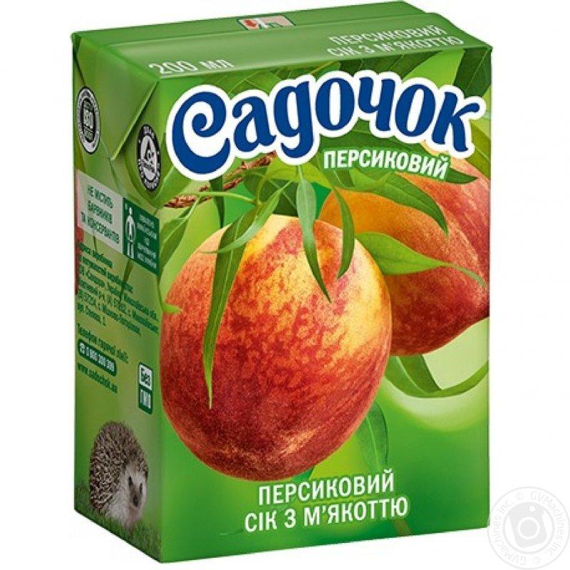 Сік Садочок персиковий з м'якоттю 250мл (9 штук)