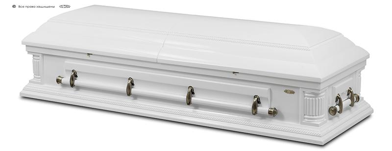Гроб элитный КАНАДА колоны белый