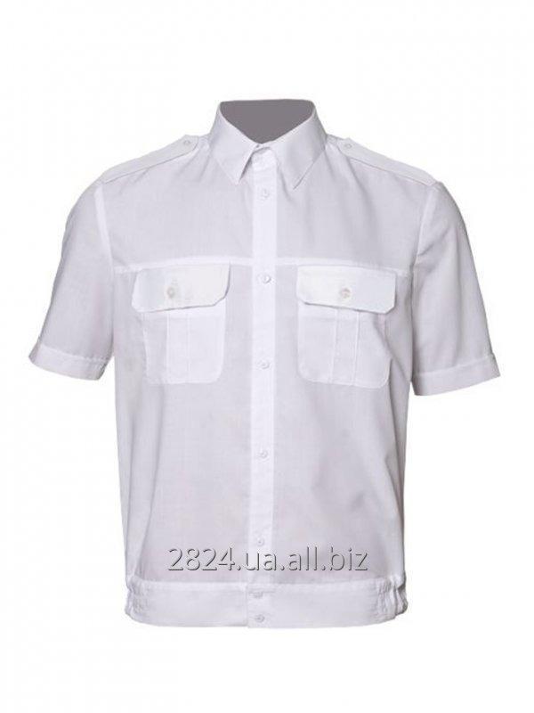 896be747a9f Рубашка форменная с коротким рукавом на поясе белая купить в ...