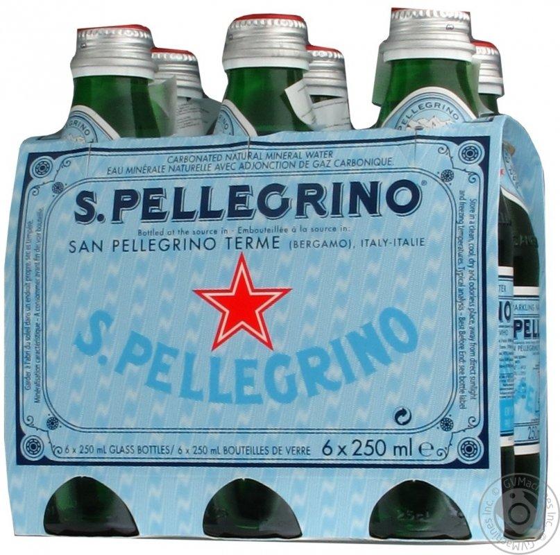 Вода Санпелегрино газированная стеклянная бутылка 250мл Италия