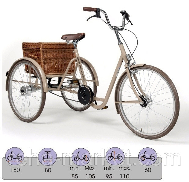 Vermeiren 2119 Retro Трехколесный велосипед Трехколесный велосипед для детей и молодежи с ДЦП