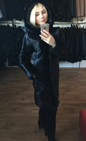Buy Fur coat from a nutria with a hood