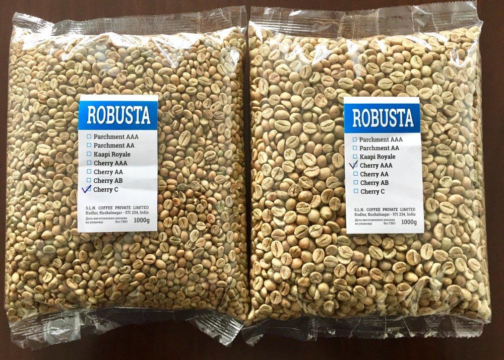 Зеленый кофе Robusta  Cherry АВ зерно (Индия)    (всего 13 сортов)