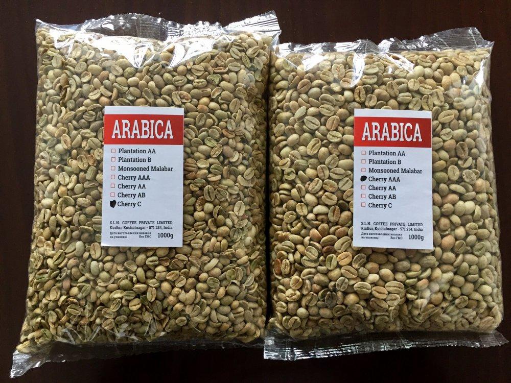 Зеленый кофе Arabica Cherry AB зерно (Индия)    (всего 13 сортов)