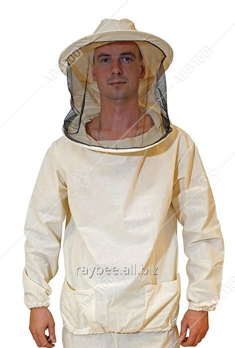 Купить Куртка пчеловода белая бязевая с маской