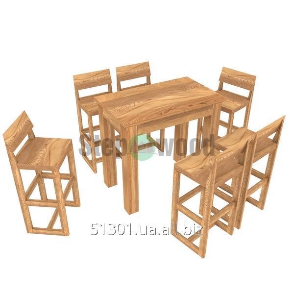 Стол барный небольшой, высокий  со стульями из дерева Тейбо
