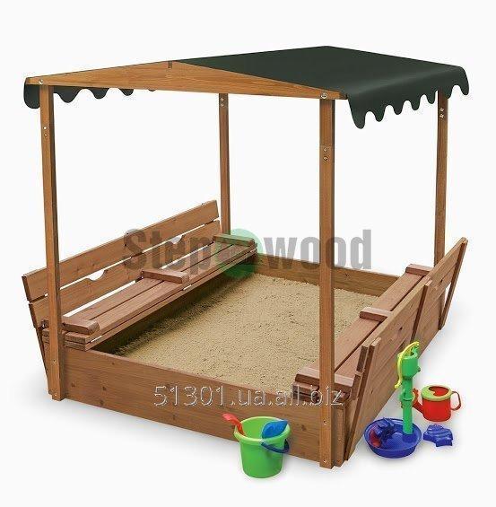 Песочница для детей деревянная по укрытием 1500х1500 Высота1800