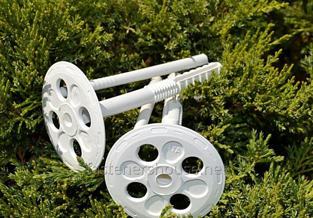 Дюбель фасадный для пенопласта Код:KI 10х70 белый с пластиковым гвоздем