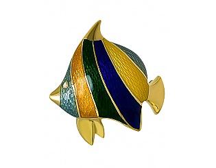Купить Золотая брошь 750 пробы с эмалью ,Артикул 01-13193954 ,Модель м-01-13193954
