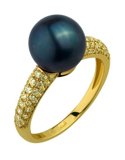 Купить Золотое кольцо 585 пробы с жемчугом и фианитами, артикул 15-000071857