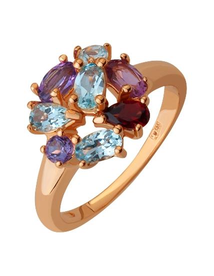 Купить Золотое кольцо 585 пробы с самоцветами, артикул 15-000074992