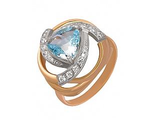 Купить Золотое кольцо 585 пробы с топазом и фианитами ,Артикул 01-12564343 ,Модель 4-к-17/15