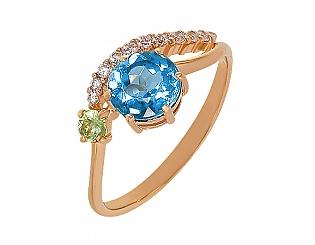 Купить Золотое кольцо 585 пробы с топазом и фианитами ,Артикул 01-13442085 ,Модель м-01-13442085
