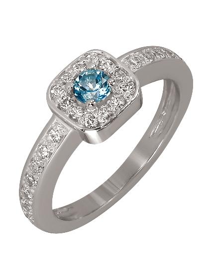 Купить Золотое кольцо 585 пробы с топазом и фианитами, артикул 15-000052134