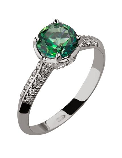 Купить Золотое кольцо 585 пробы с топазом и фианитами, артикул 15-000082493