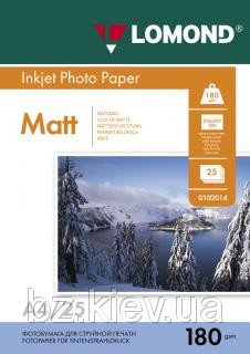 Односторонняя матовая фотобумага для струйной печати, A4, 180 г/м2, 25 листов, код 0102037