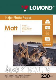 Односторонняя матовая фотобумага для струйной печати, A4, 230 г/м2, 25 листов, код 0102050