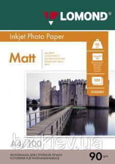 Односторонняя матовая фотобумага для струйной печати, A4, 90 г/м2, 100 листов, код 0102001