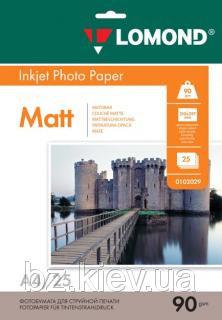 Односторонняя матовая фотобумага для струйной печати, A4, 90 г/м2, 25 листов, код 0102029