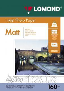 Односторонняя матовая фотобумага для струйной печати, A4, 160 г/м2, 100 листов, код 0102005