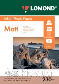 Односторонняя матовая фотобумага для струйной печати, A3, 230 г/м2, 50 листов, код 0102156