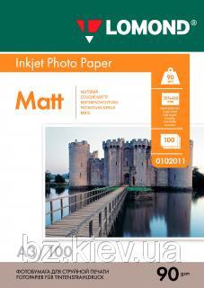 Односторонняя матовая фотобумага для струйной печати, A3, 90 г/м2, 100 листов, код 0102011