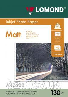 Двусторонняя матовая фотобумага для струйной печати, A4, 130 г/м2, 100 листов, код 0102004