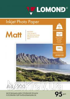 Односторонняя матовая фотобумага для струйной печати, A4, 95 г/м2, 100 листов, код 0102125