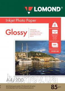 Односторонняя глянцевая фотобумага для струйной печати, A4, 85 г/м2, 100 листов, код 0102145