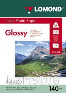 Односторонняя глянцевая фотобумага для струйной печати, A4, 140 г/м2, 25 листов, код 0102076
