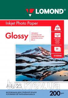 Односторонняя глянцевая фотобумага для струйной печати, A4, 200 г/м2, 25 листов, код 0102046