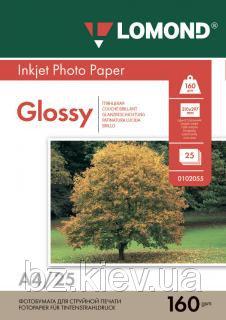 Односторонняя глянцевая фотобумага для струйной печати, A4, 160 г/м2, 25 листов, код 0102079