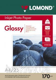 Односторонняя глянцевая фотобумага для струйной печати, A4, 170 г/м2, 25 листов, код 0102143