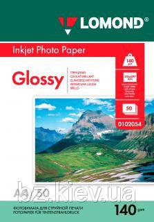 Односторонняя глянцевая фотобумага для струйной печати, A4, 140 г/м2, 50 листов, код 0102054