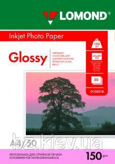 Односторонняя глянцевая фотобумага для струйной печати, A4, 150 г/м2, 50 листов, код 0102018