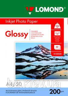 Односторонняя глянцевая фотобумага для струйной печати, A4, 200 г/м2, 50 листов, код 0102020