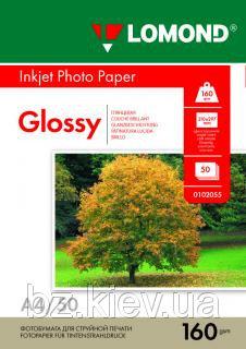 Односторонняя глянцевая фотобумага для струйной печати, A4, 160 г/м2, 50 листов, код 0102055