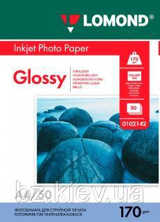 Односторонняя глянцевая фотобумага для струйной печати, A4, 170 г/м2, 50 листов, код 0102142