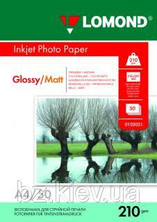 Двусторонняя глянцевая/матовая фотобумага для струйной печати, A4, 210 г/м2, 50 листов, код 0102021