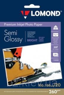 Полуглянцевая ярко-белая микропористая фотобумага для струйной печати, A6, 260 г/м2, 20 листов, код 1103302